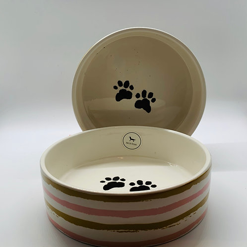 Striped Dog Bowl