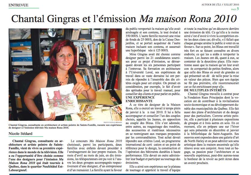 2010-Chantal gingras et RONA