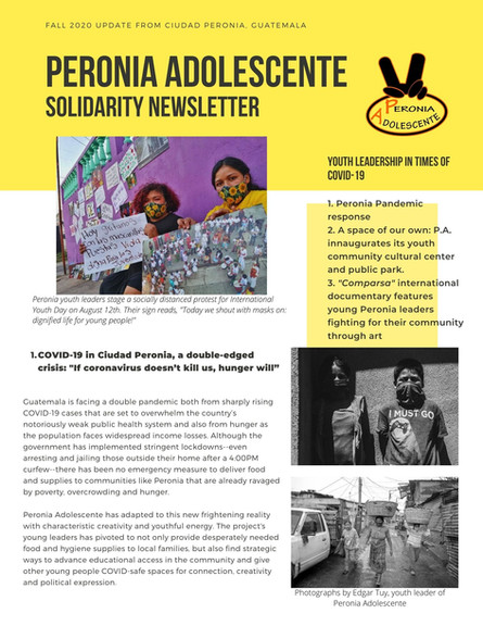 Fall 2020 Peronia Adolescente Solidarity Newsletter
