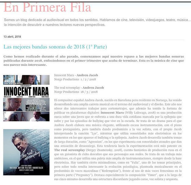 En primera fila - las mejores bandas sonoras de 2018 (1ª Parte) Andreu Jacob