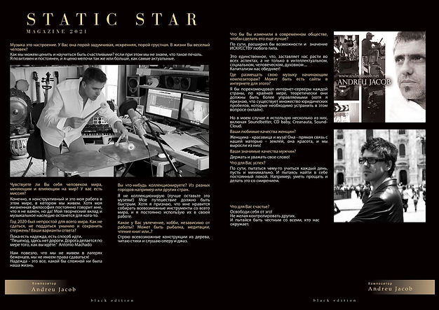 Andreu Jacob - A interview made by Станислав Старченко for the magazine Static Star (Moscow) Russia  2021.03.15