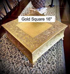"""Gold Square Embossed Cake Stand 16"""""""
