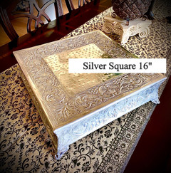 """Silver Square Embossed Cake Stand 16"""""""