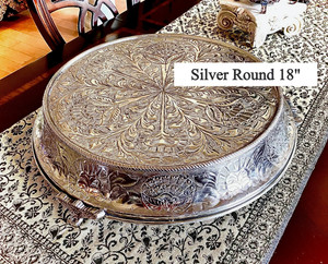 """Silver Round Embossed Cake Stand 18"""""""