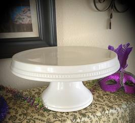 "White Porcelain Pedestal Cake Stand 10"""