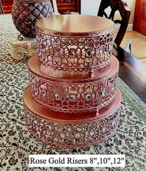 Rose Gold 3 Tier Filigree For Multiple or Single Tier Cake
