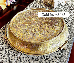 """Gold Round Embossed Cake Stand 16"""""""