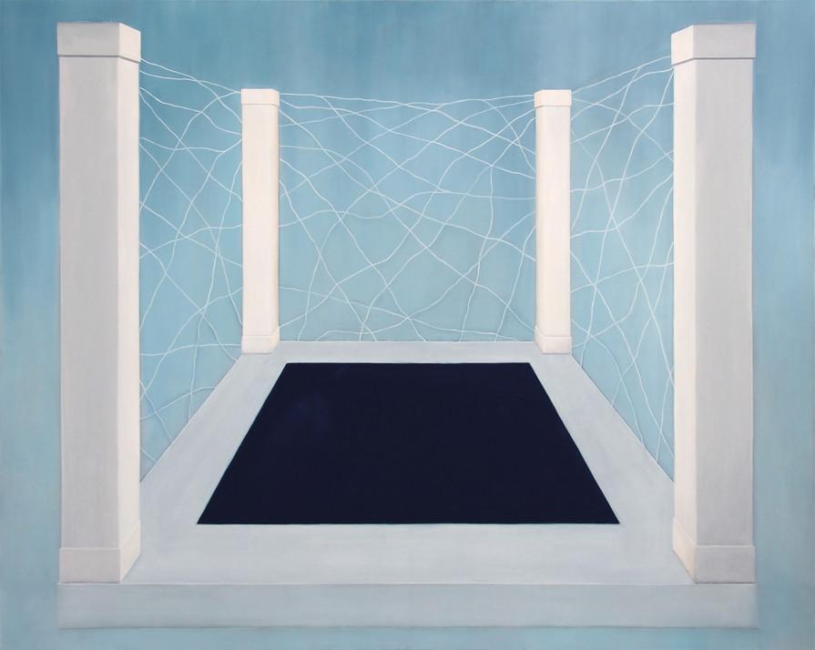 Piliers et rectangle, huile sur toile, 120x150cm, 2019