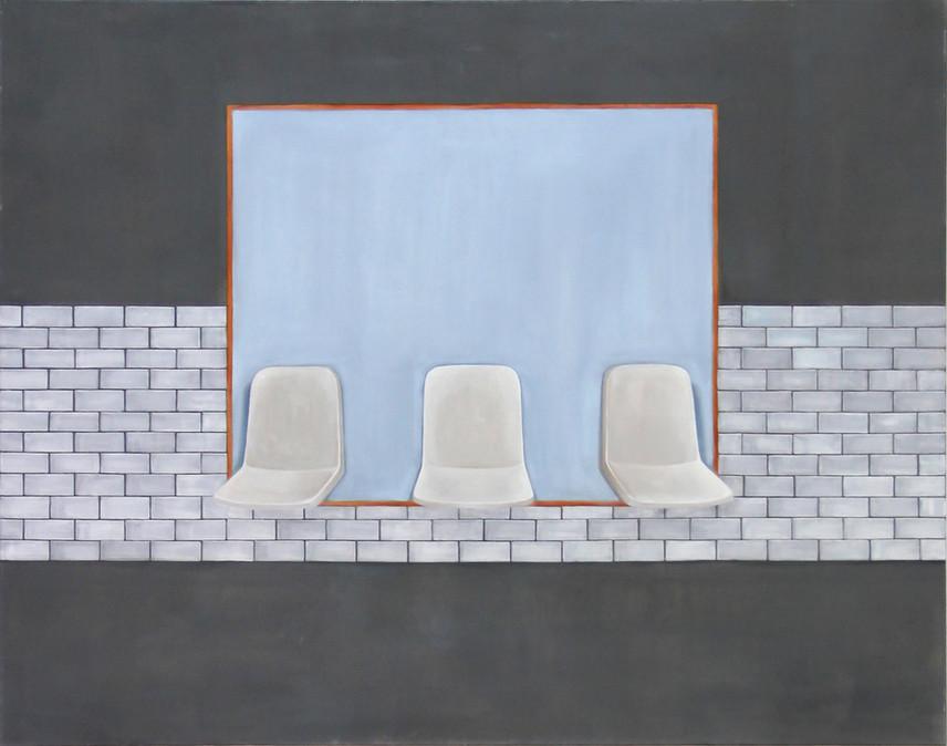 Sièges et rectangle, huile sur toile, 110x140cm, 2018