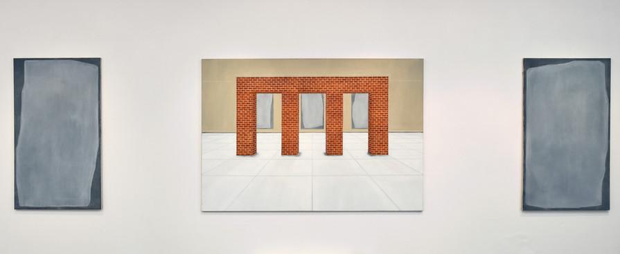 Structure en brique, triptyque, huile sur toiles, 130x190cm et 75x130 cm (x2), 2019