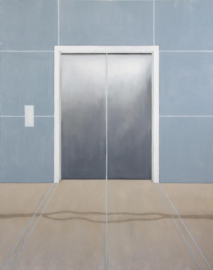 Ascenseur, huile sur toile, 110x140cm, 2019