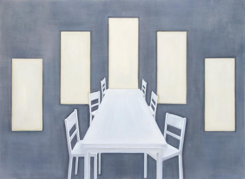 Table et chaises, huile sur toile, 110x150cm, 2018