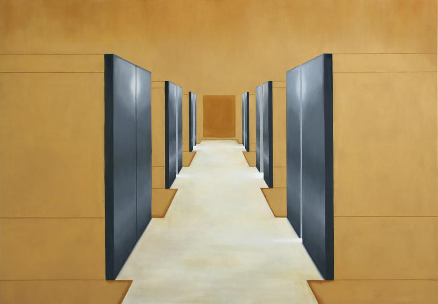 Couloir d'ascenseurs, huile sur toile, 140x200cm, 2019