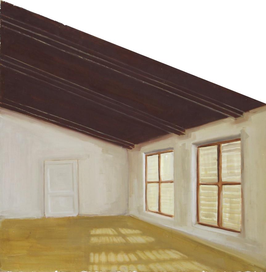 Grenier, huile sur bois, 41x66x69cm, 2017