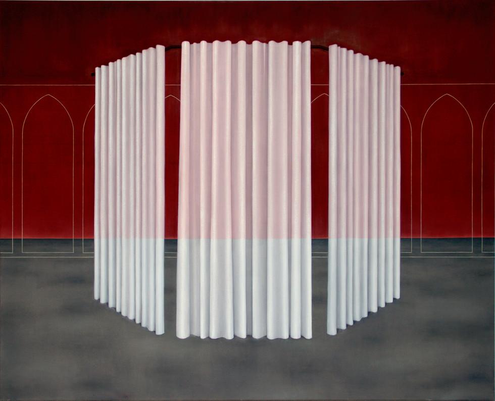 Trois rideaux, huile sur toile, 130x160 cm, 2021