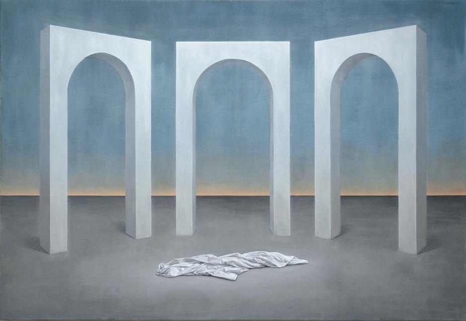 Trois arches et drapé, huile sur toile, 110x160 cm, 2021