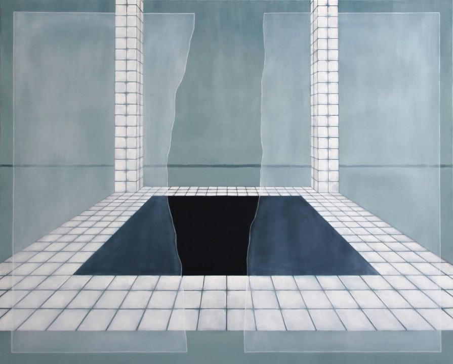 Carrelage et rectangle, huile sur toile, 120x150cm, 2019