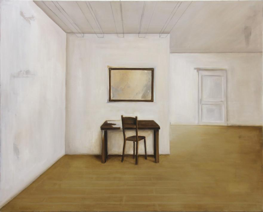 Salle table et cadre, huile sur toile, 120x150cm, 2017