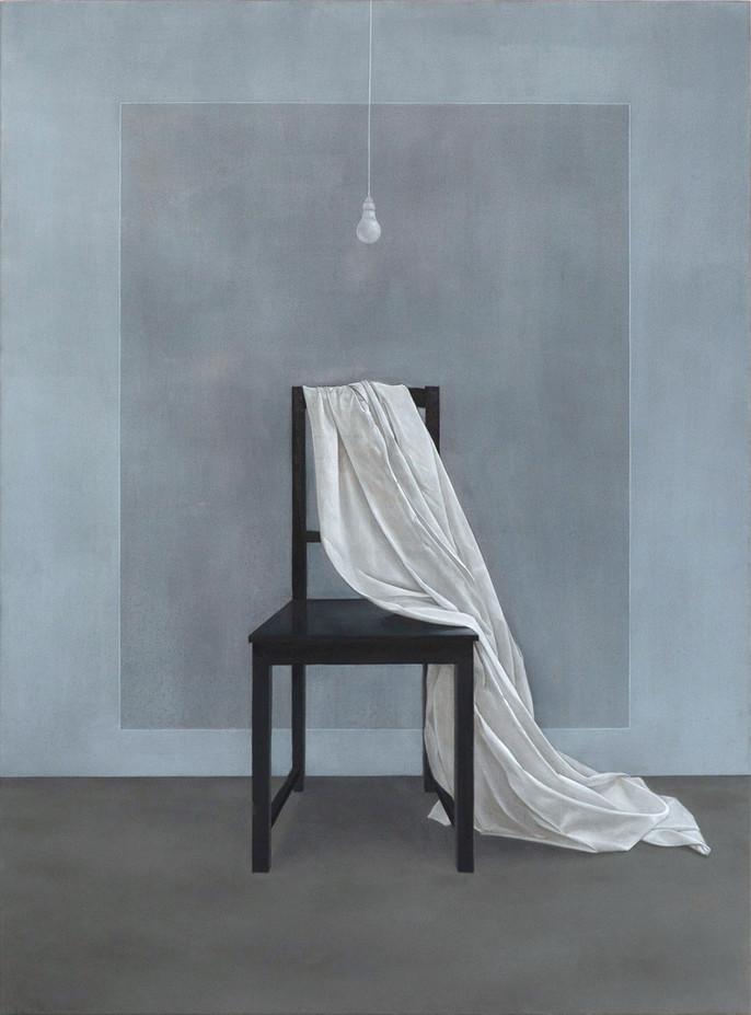 Chaise et drap, huile sur toile, 92x125 cm, 2021