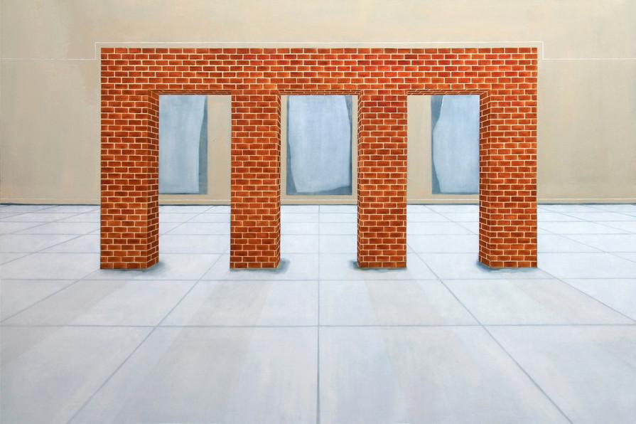 Structure en brique, toile centrale (triptyque), huile sur toile, 130x190cm, 2019