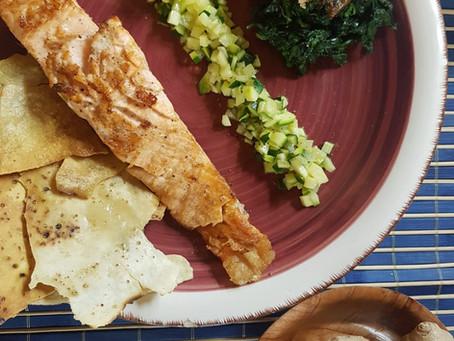 Tempo di zenzero i vs piatti: Salmone marinato allo zenzero con zucchine e spinaci