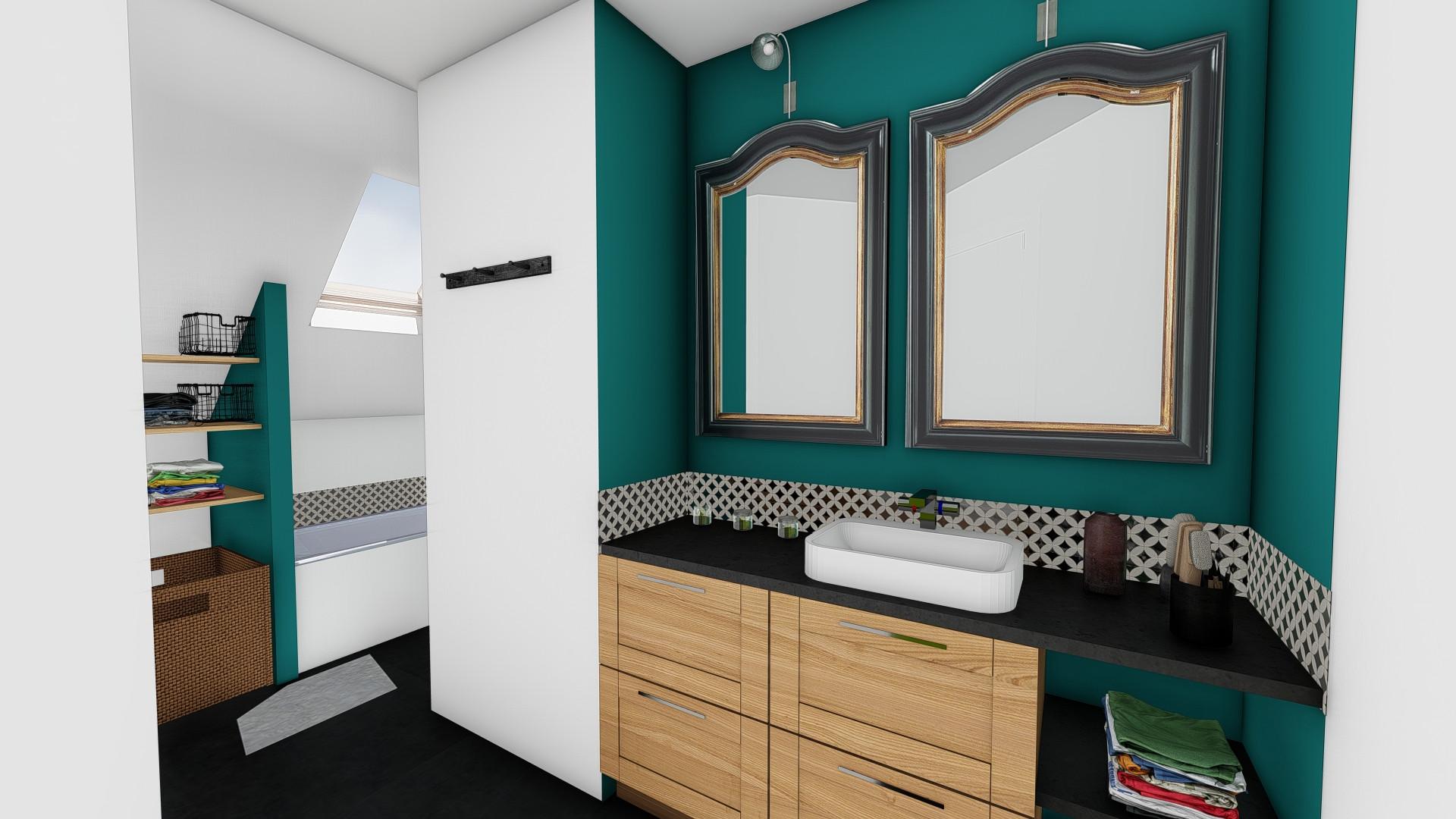 Projection d'une ambiance néo-rétro de Salle de bain © Imagine