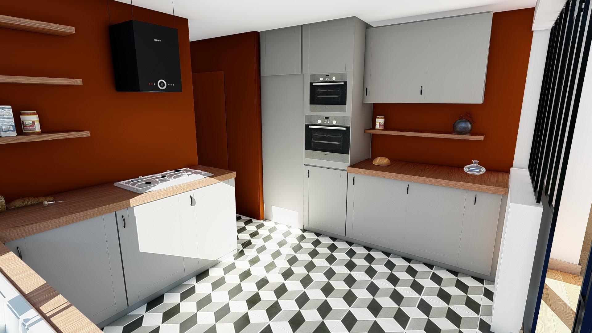 Projection cuisine avec peinture  et sol © Imagine