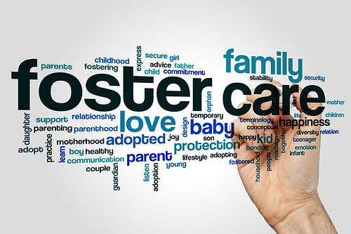 Foster care word cloud concept on grey b