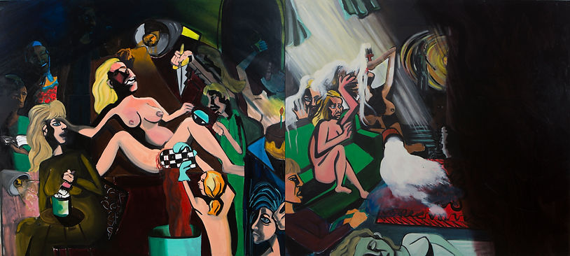 the  birth and death,Diptych, oil on can