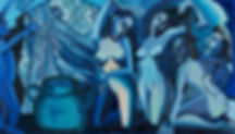 Women bathing, oil on canvas, 128X224 cm
