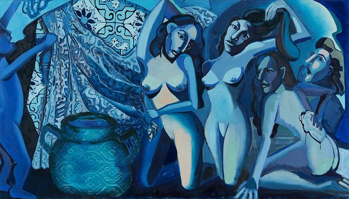 Women bathing, oil on canvas, 128X224 cm