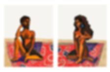 A couple sitting on a carpet, pastel on