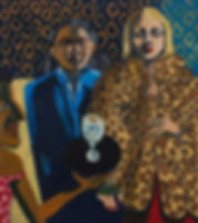 A woman with lepored print coat, oil on