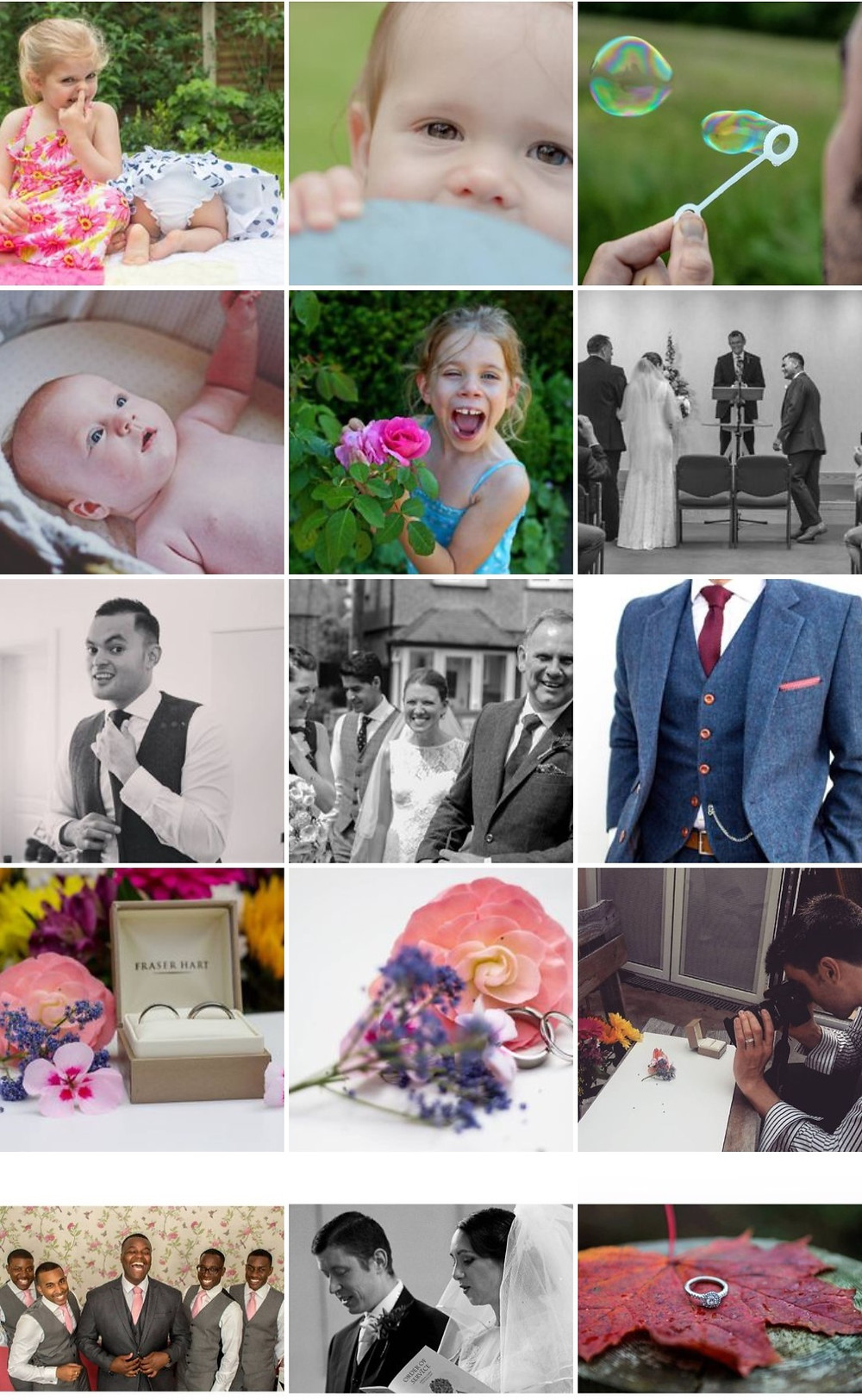 Happy children, bride and groom, floral