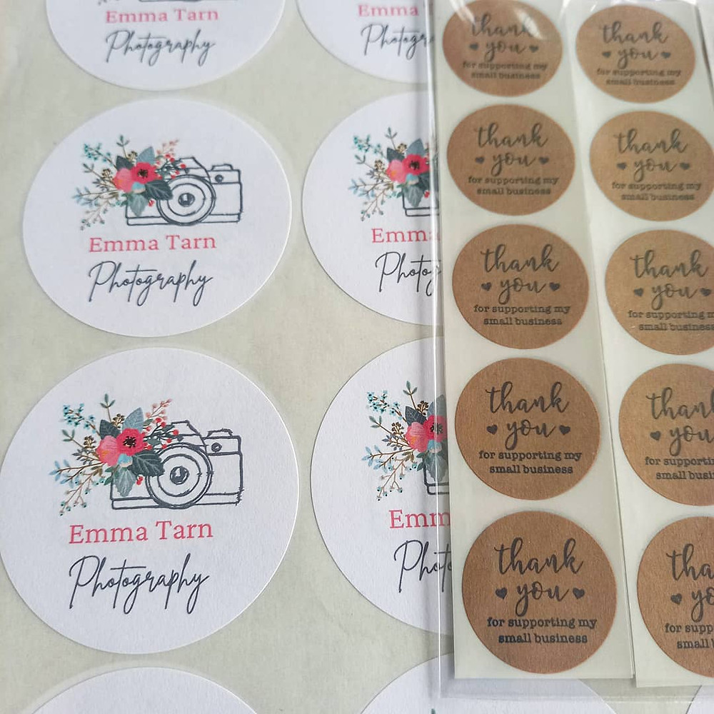 Logo stickers, camera and floral design