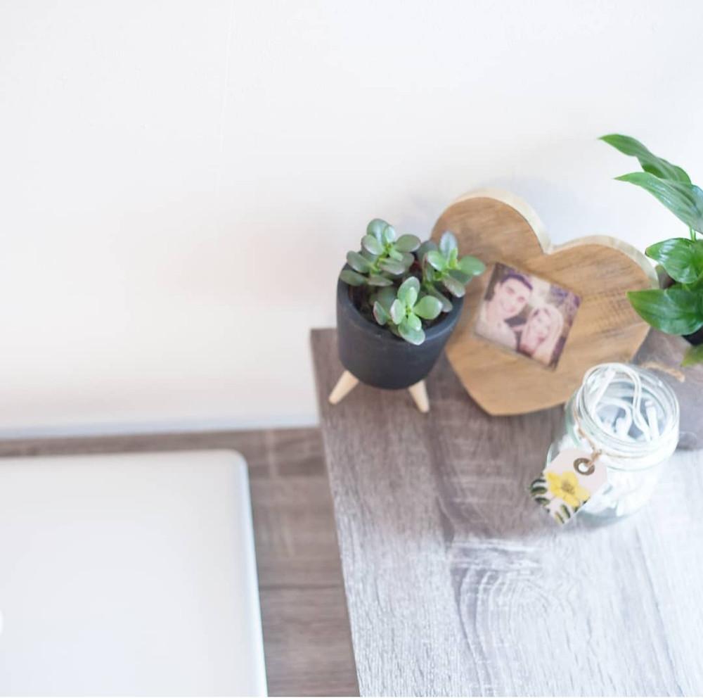 Houseplant, photo frame, fairy lights on a desk