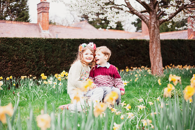 Giggling brother and sister in daffodils