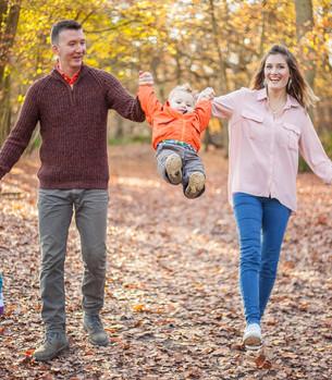 Happy family Woodland walk
