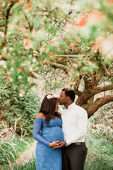 Expectant couple under blossom tree