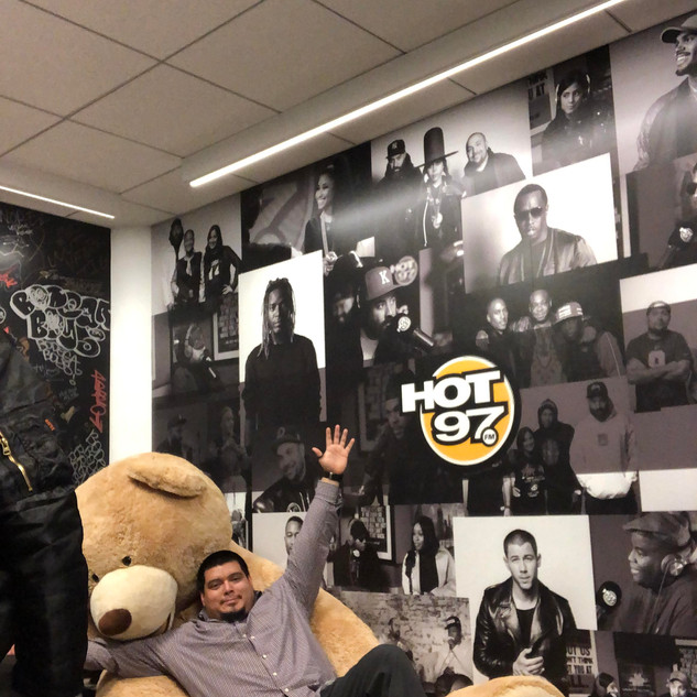 The famous Hot 97 Teddy Bear in Lou's office