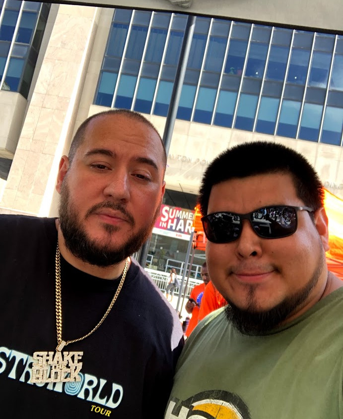 With DJ Bobbytrends at a back to school event in Harlem. Really dope dude.