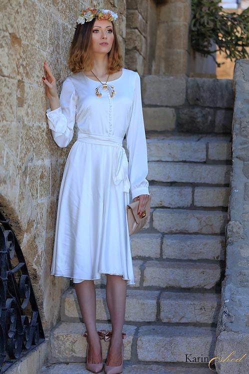 שמלת קלוש משי לבנה