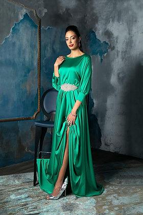 שמלת משי ירוק אמרלד ארוכה +חגורת סברובסקי