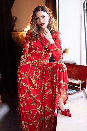 שמלת שרשראות אדומה ארוכה וארסצה