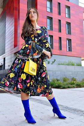 שמלת פרחים גוצי בגזרת שמש