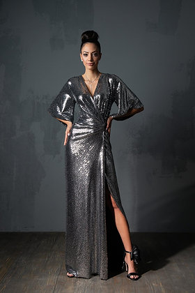 שמלת הוראסצה כסופה בגזרת מעטפת