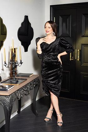 שמלת קטיפה שרוול תפוח שחורה צמודה