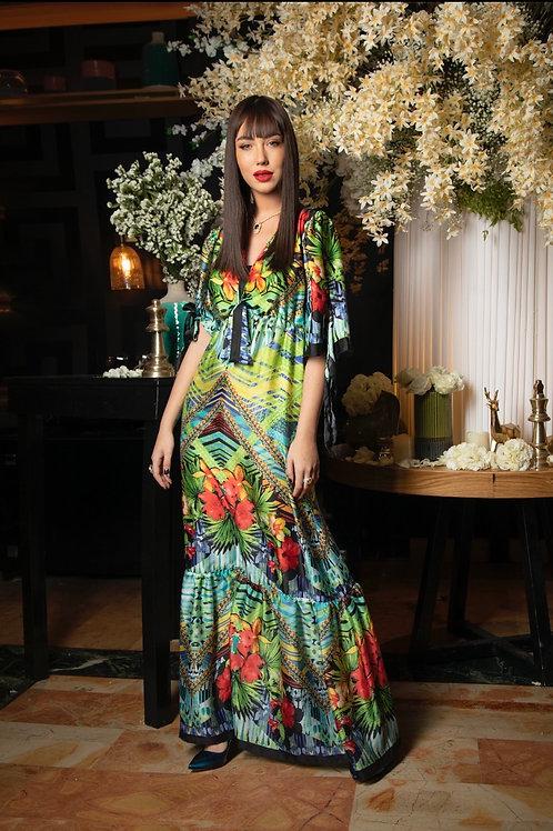שמלת פרחים אמרלד קשירות