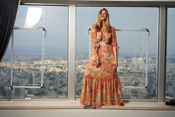 שמלת קשירה פרחוני כתום-באז שיפון ארוכה