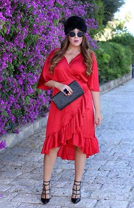 שמלת משי מעטפת אדומה